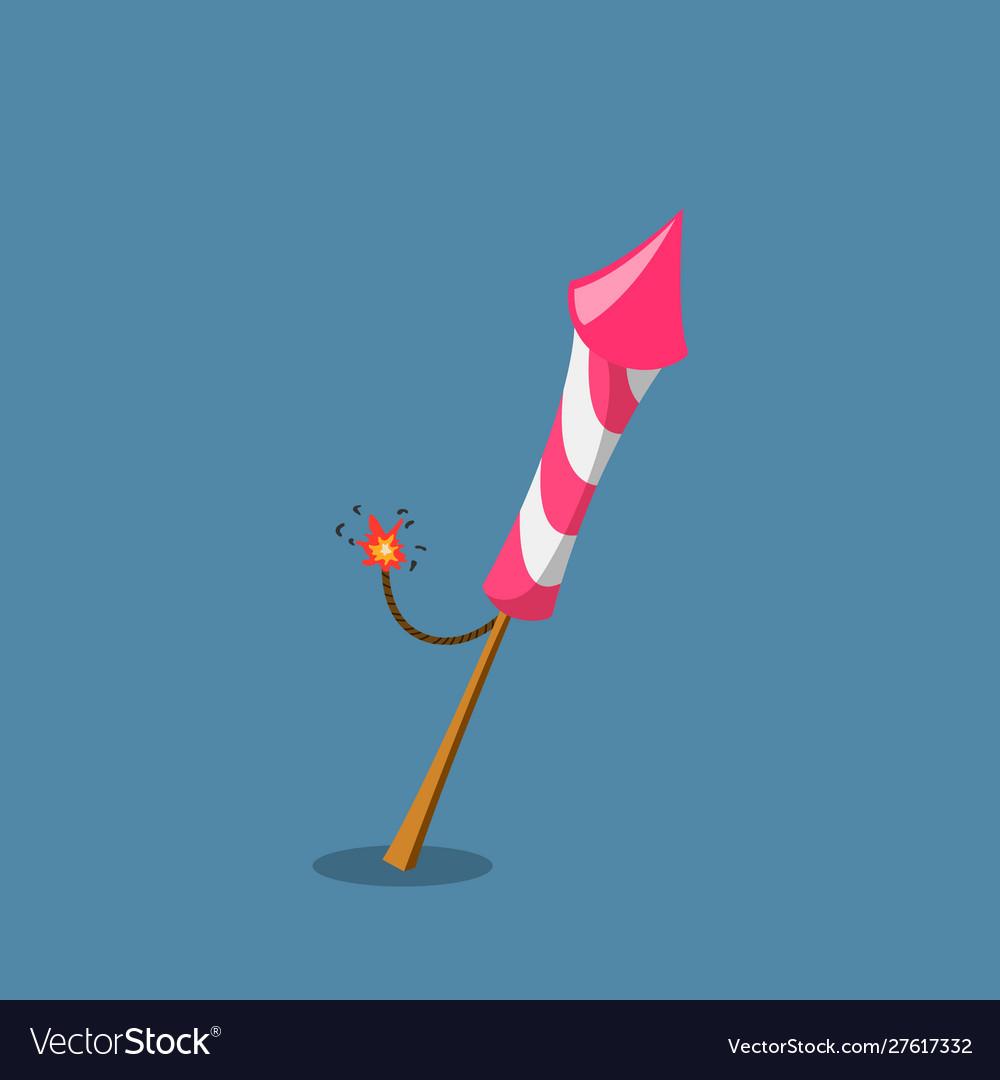 Firework rocket in cartoon style pink petard
