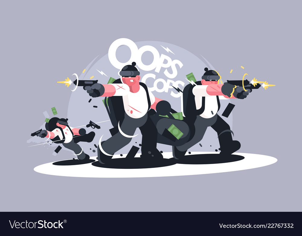 Group Of Robbers In Masks With Weapons Vector Image