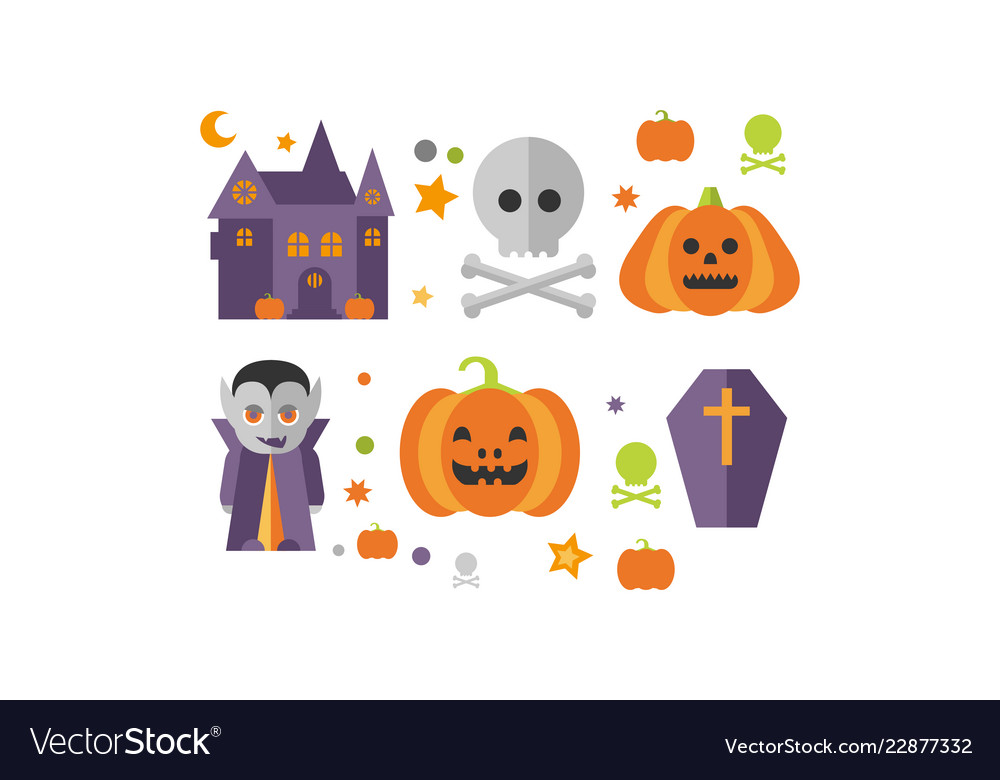 Halloween icons set castle vampire skull and