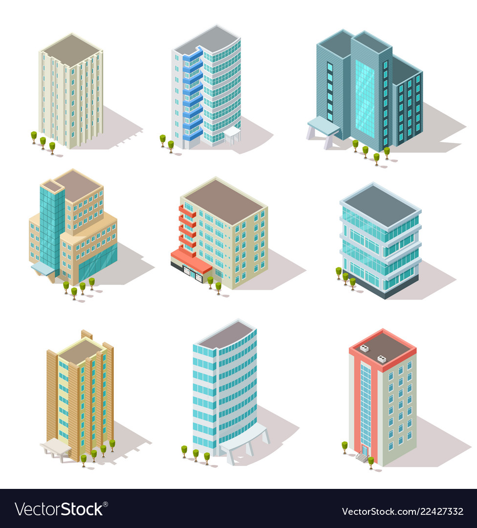 Isometric buildings business offices apartment