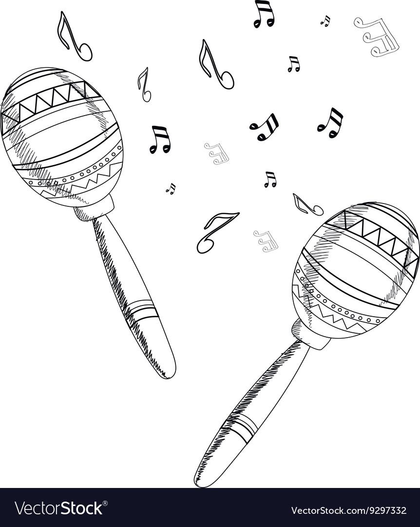 Musical instrument maracas on white background