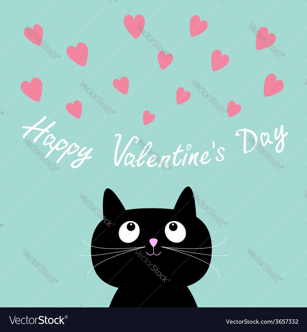 5e037bbc8fd Pink hearts and cute cartoon cat Flat design style vector image