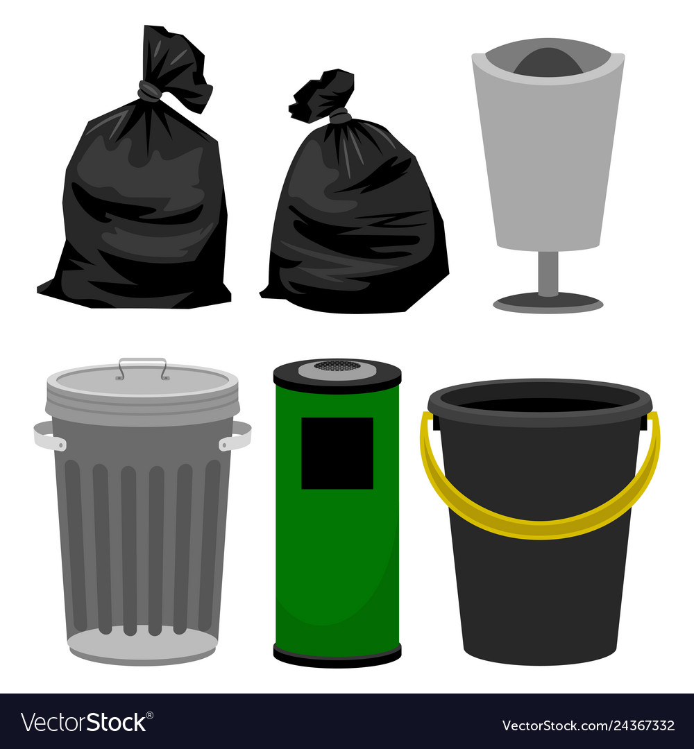 Plastic and metallic bins black plastic bags for