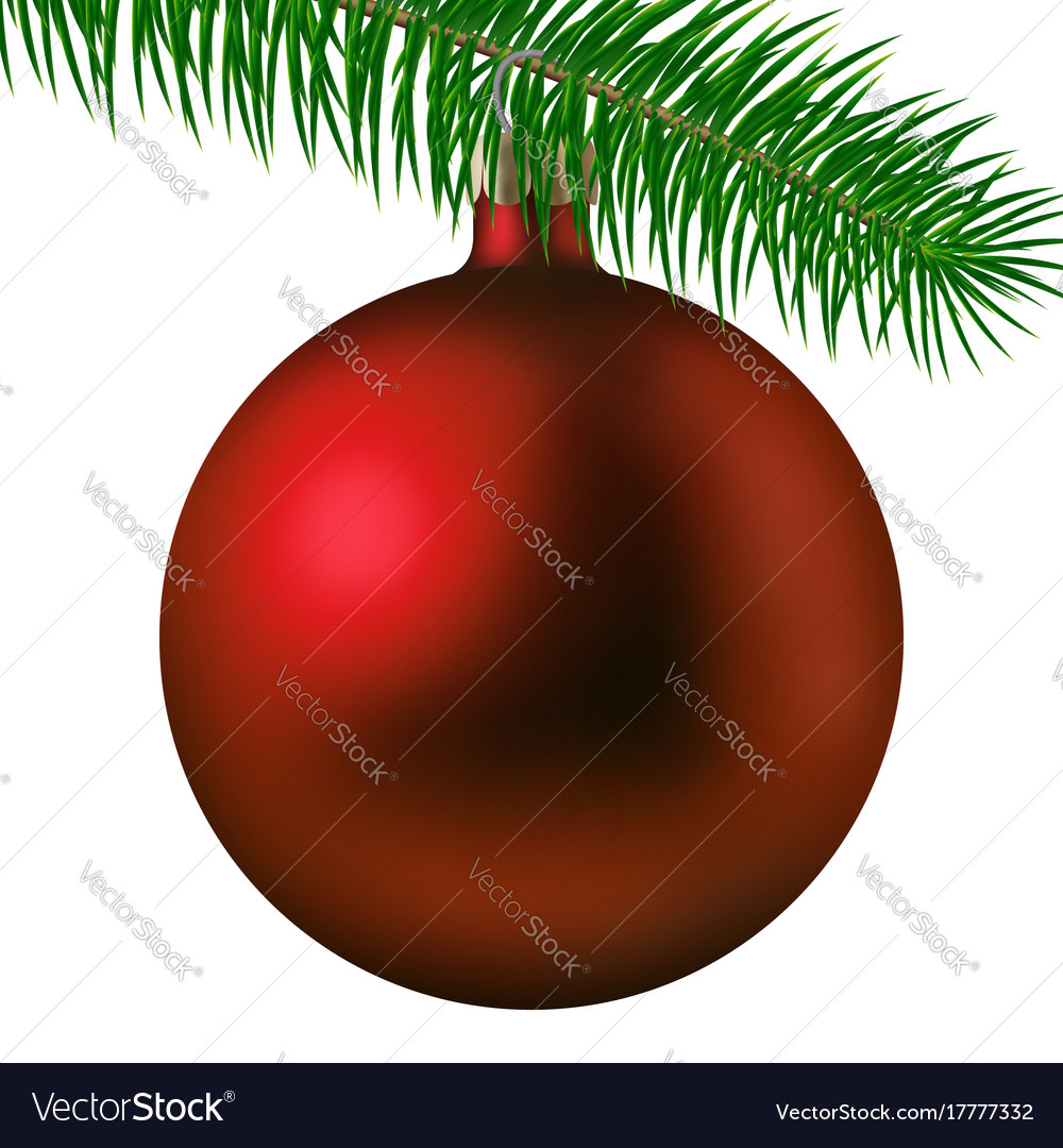 Realistic red matte christmas ball or bauble with