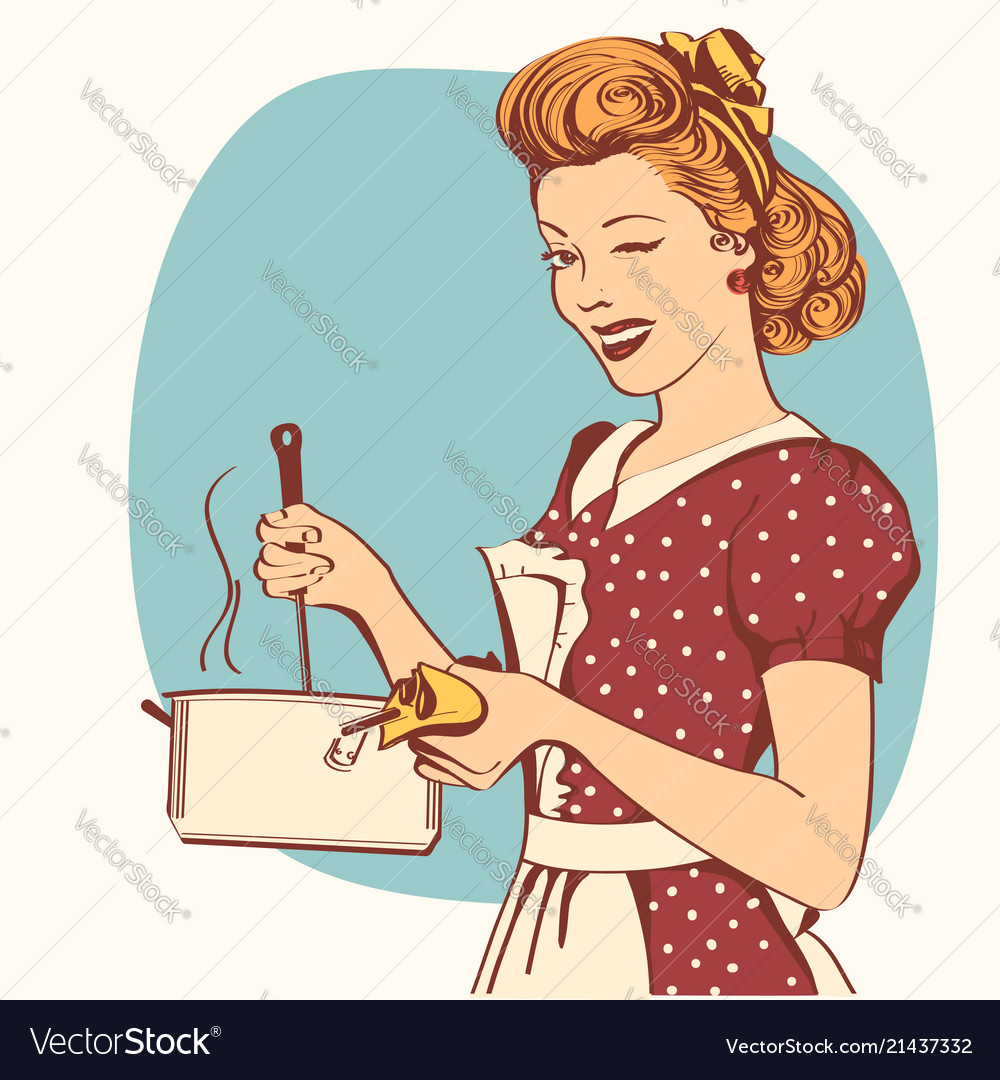 Retro young woman in retro clothes cooking soup