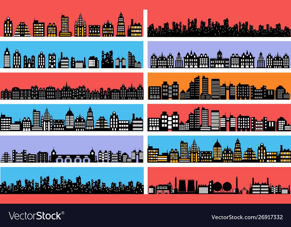 Set city landscape silhouettes