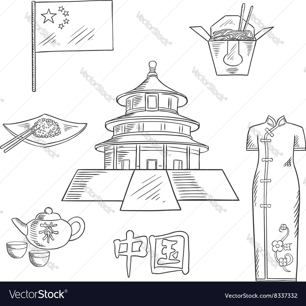 Travel to China sketch icon for tourism design