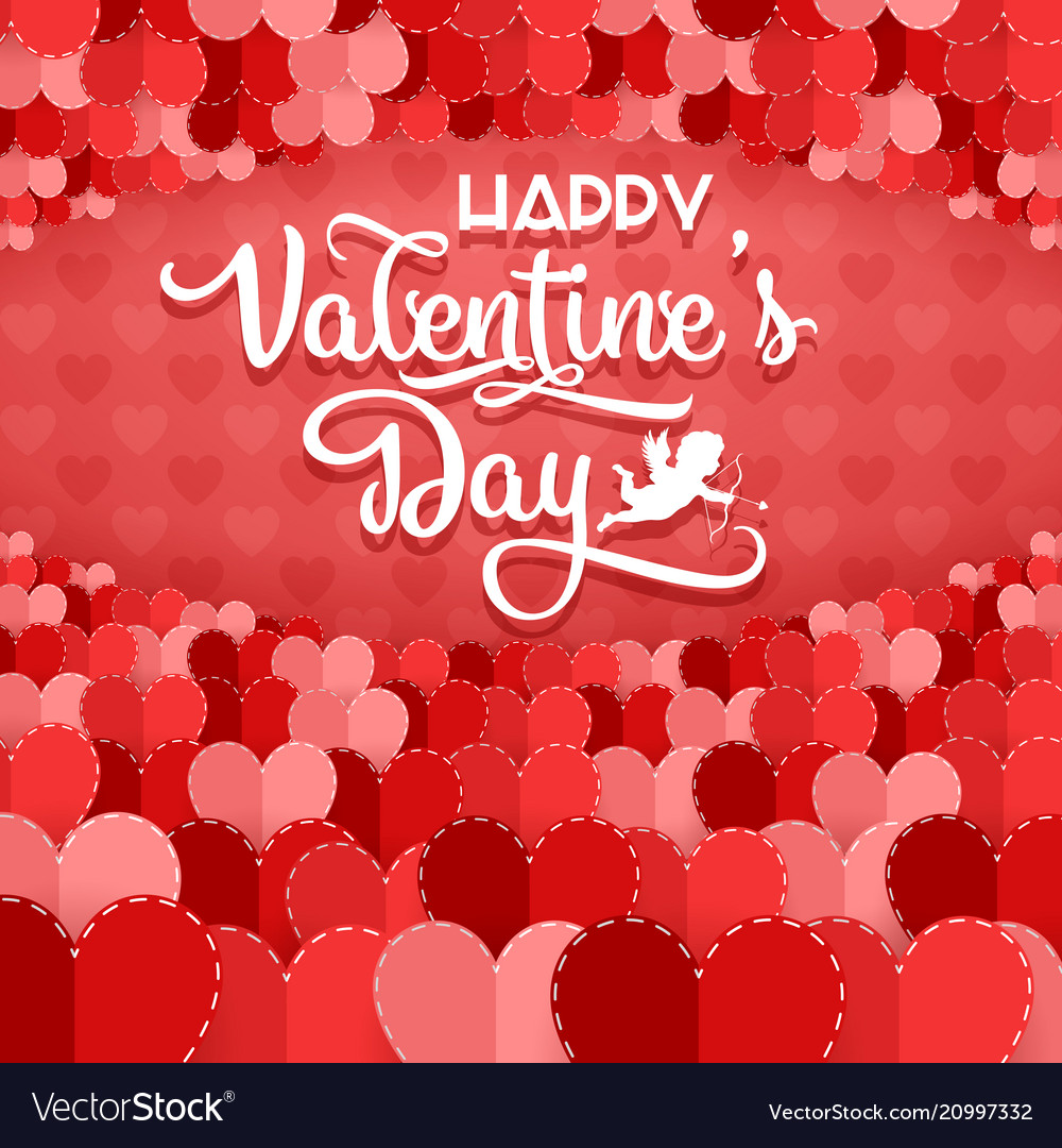 Valentines day greeting card with hearts on red