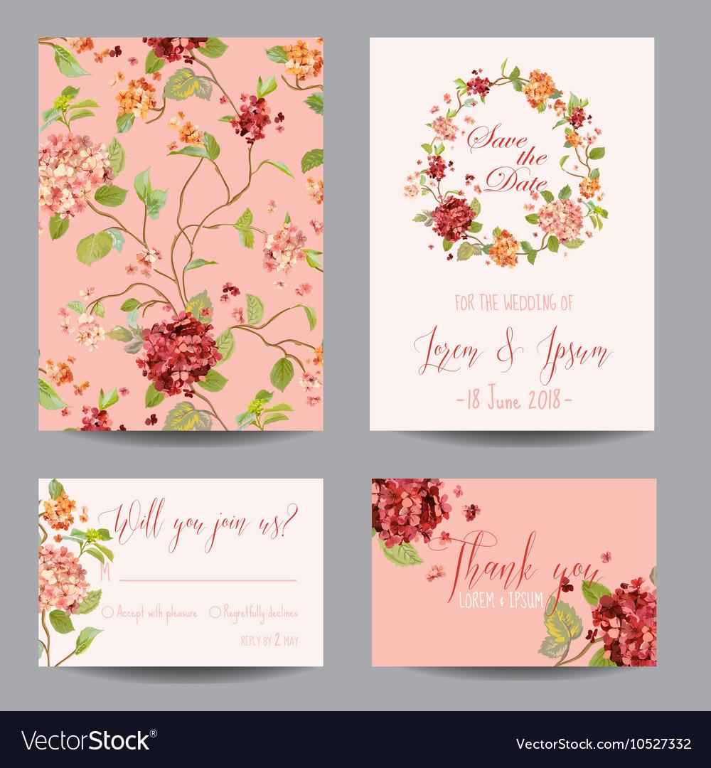 Vintage Hortensia Flowers - for Wedding Invitation
