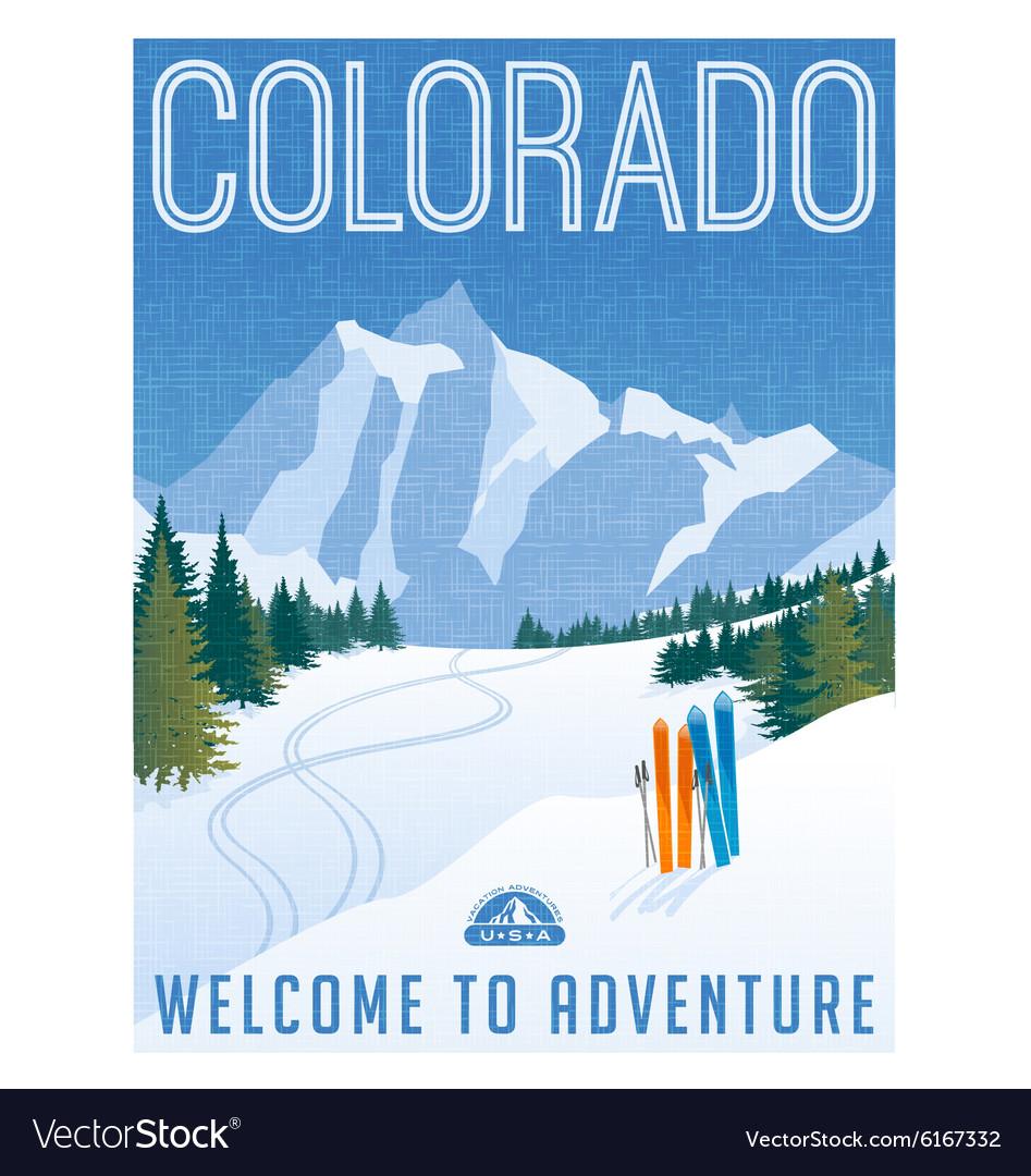 Vintage travel poster or sticker of Colorado vector image