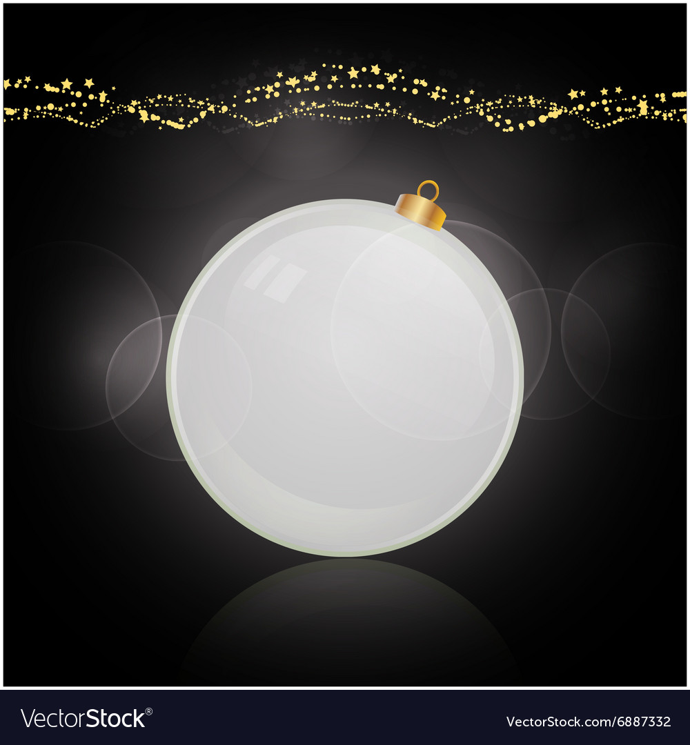 White bauble and decoration over black