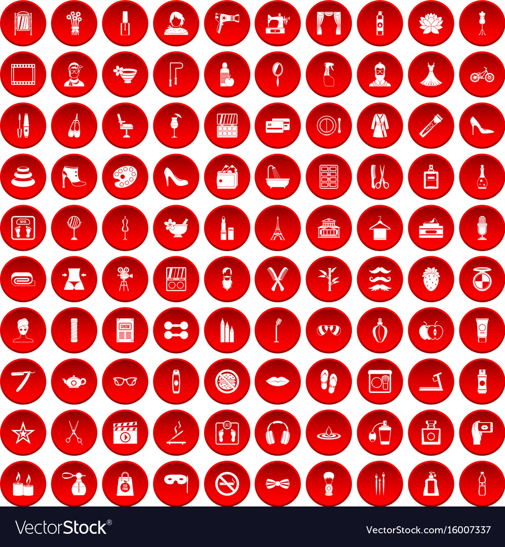 100 beauty and makeup icons set red