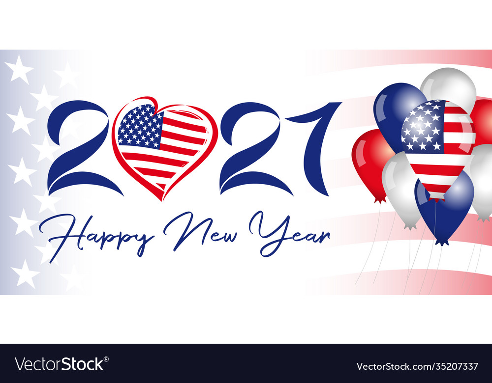2021 new year usa balloons flag banner