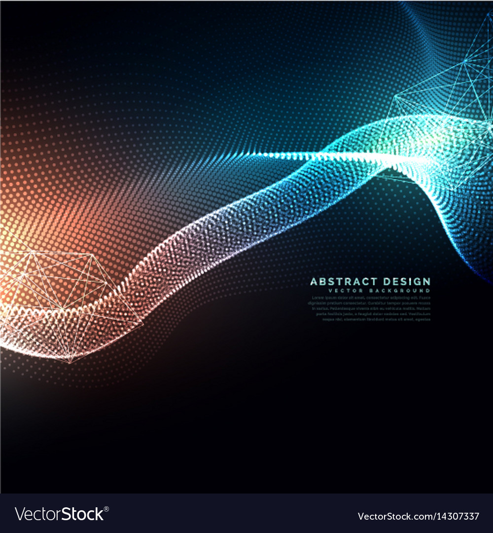 Abstract digital particles flowing background in vector image