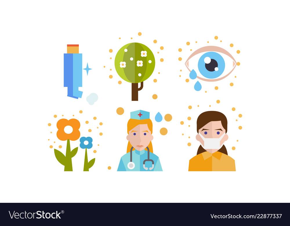 Allergy symptoms and treatment icons set seasonal