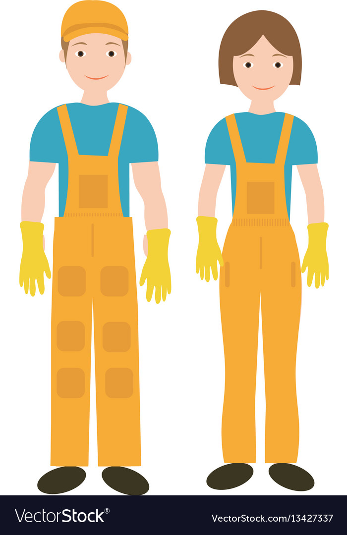 Cleaners in uniform woman and man icon flat style