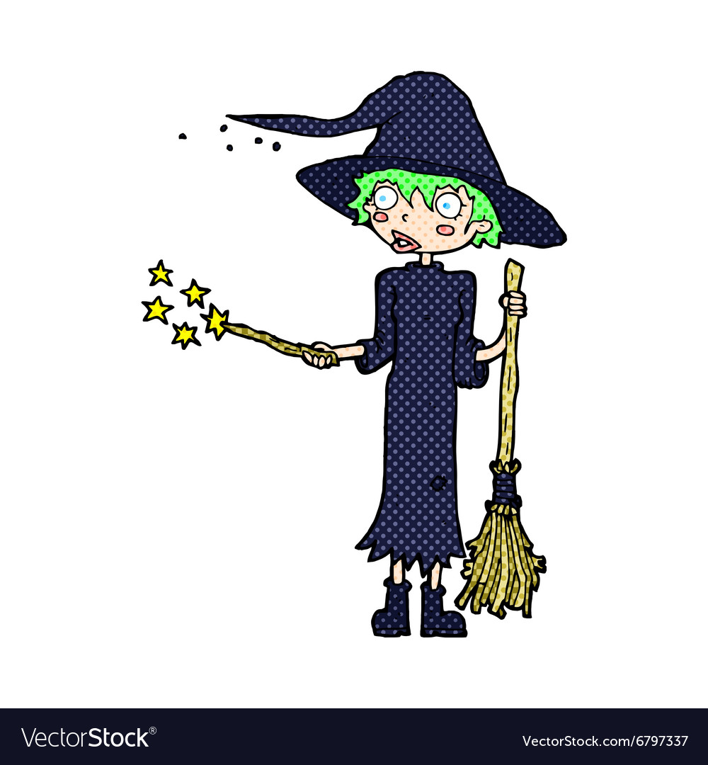 Comic cartoon witch casting spell