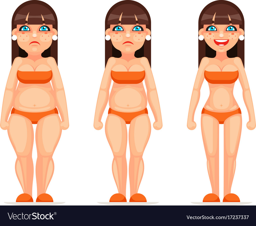 Fat thin female character different stages health