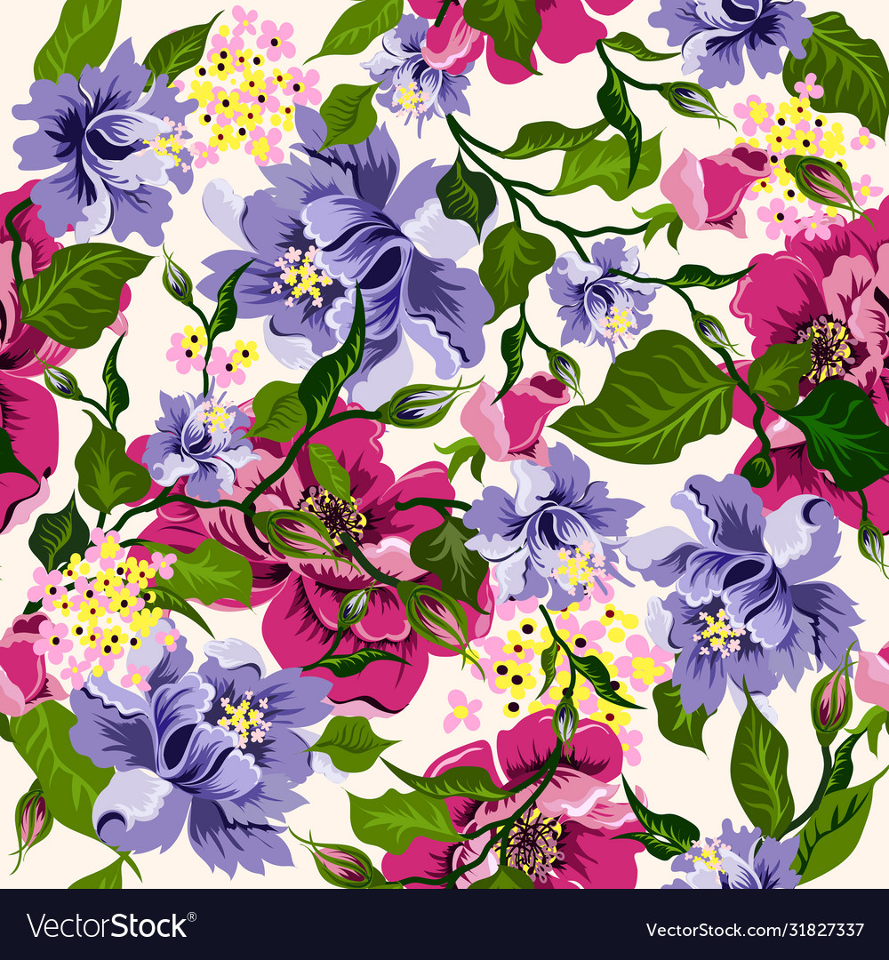 Floral watercolor pattern with flowers peonies