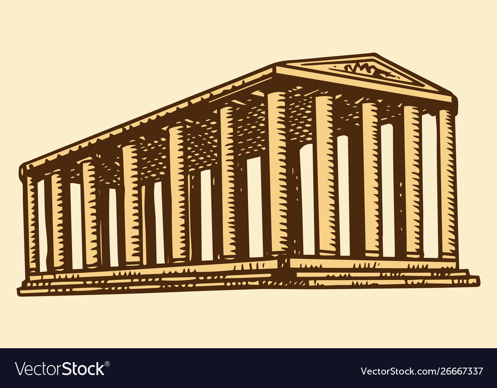 Historical building with columns seven wonders of