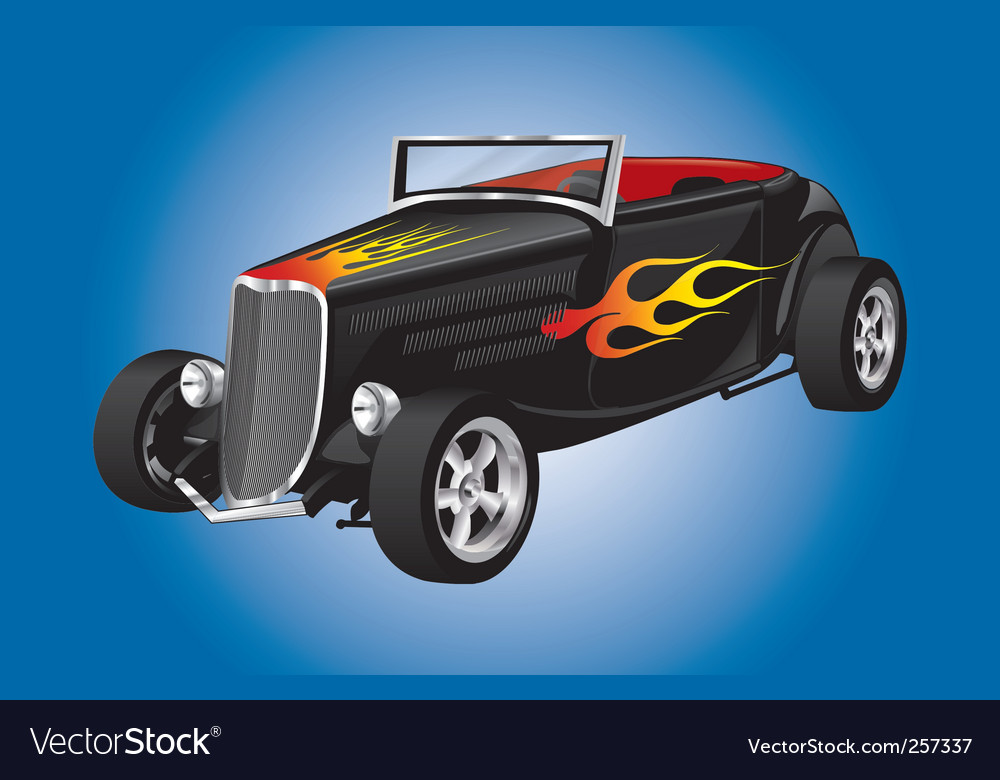 Hot rod car with flames Royalty Free Vector Image