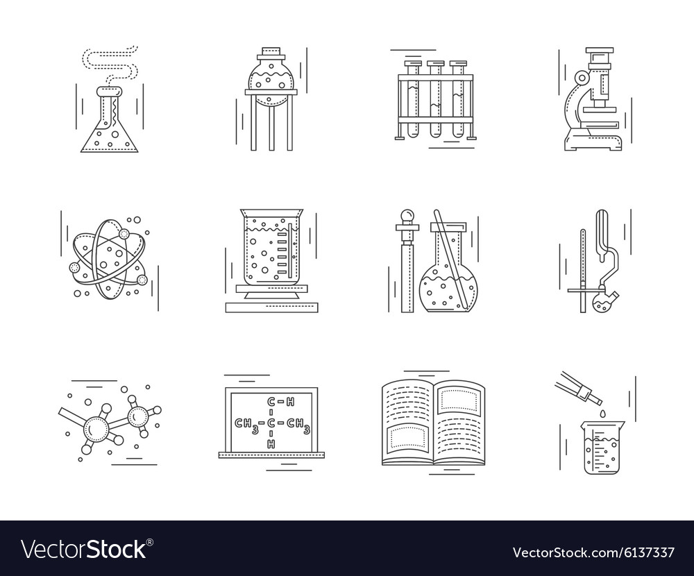 Linear icons collection for chemistry