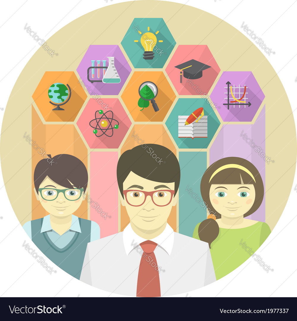 Man teacher and pupils with colored hexagons