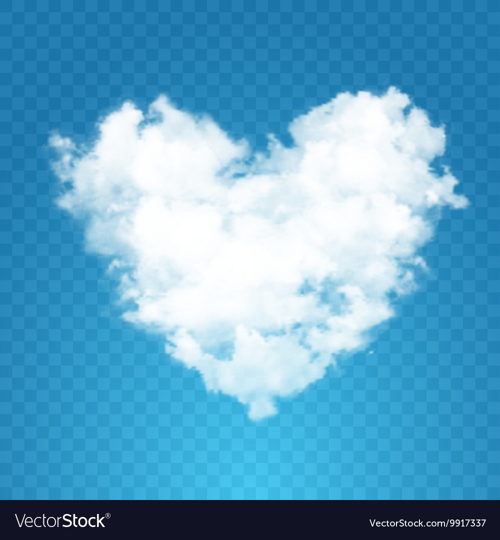Realistic cloud heart with sun vector image on VectorStock