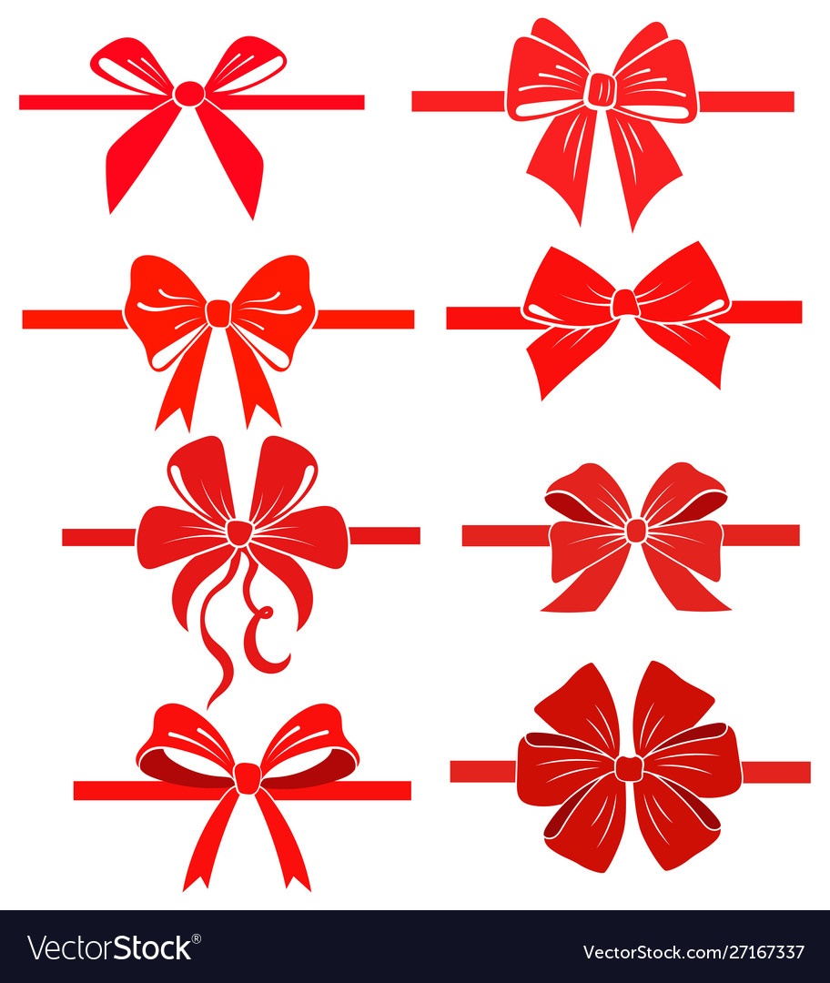 Set colorful bows collection elegant silk