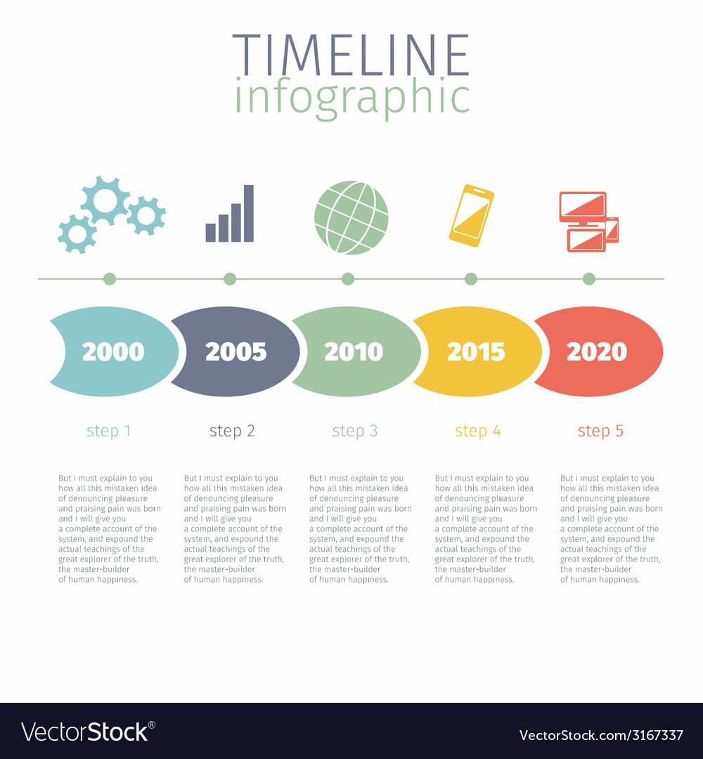 Timeline infographic with diagram and text Vector Image