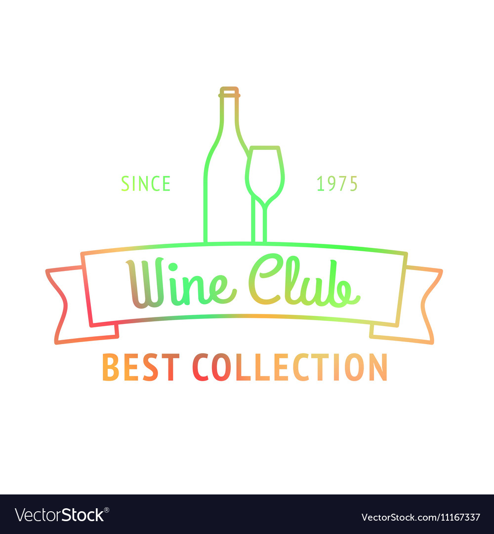 Wine club best collection colorful logo vector image