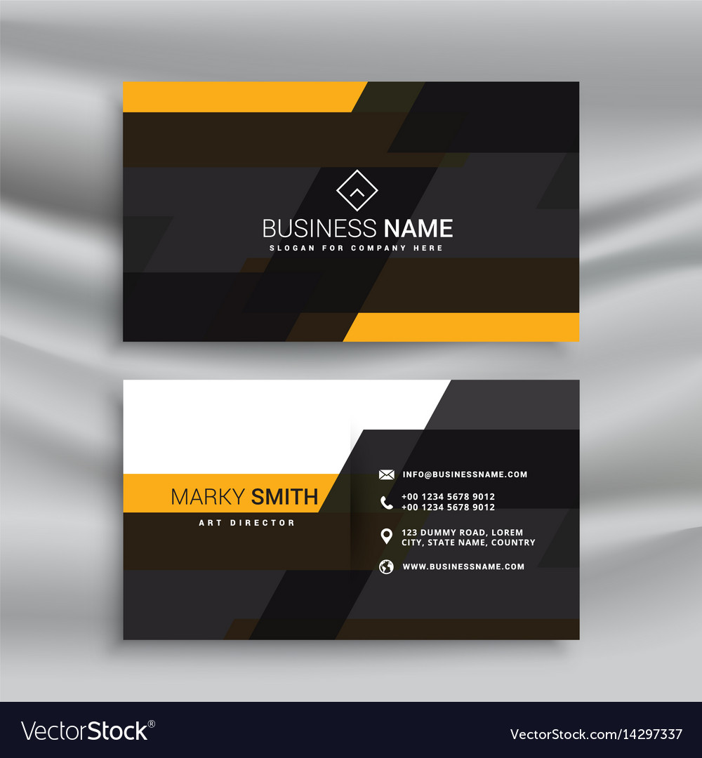 Yellow and black elegant business card template vector image flashek Gallery