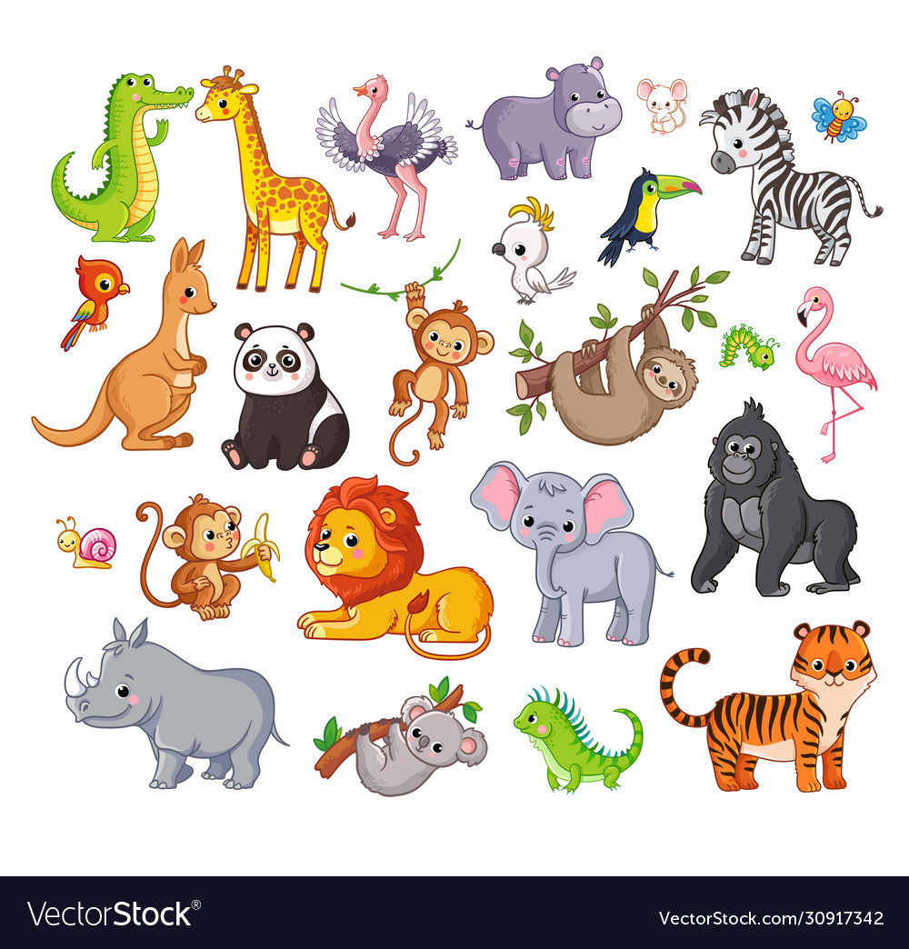Big set with animals in cartoon style