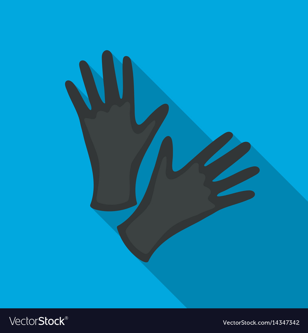 Black protective rubber gloves icon flate single vector image