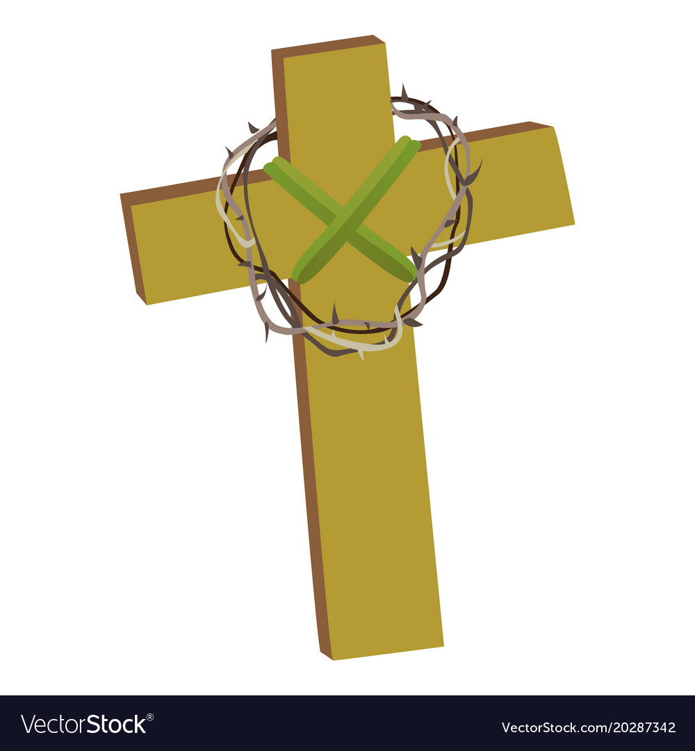 Cross with crown of thorns isolated on white