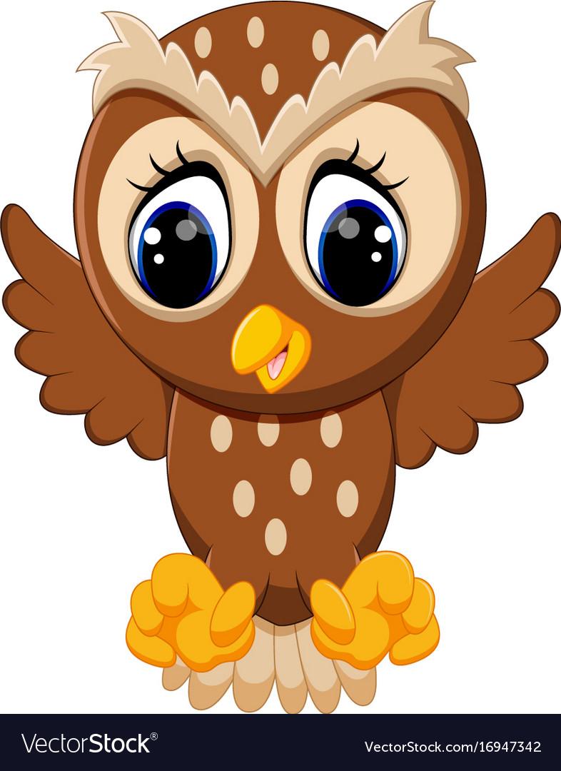 cute owl cartoon royalty free vector image vectorstock