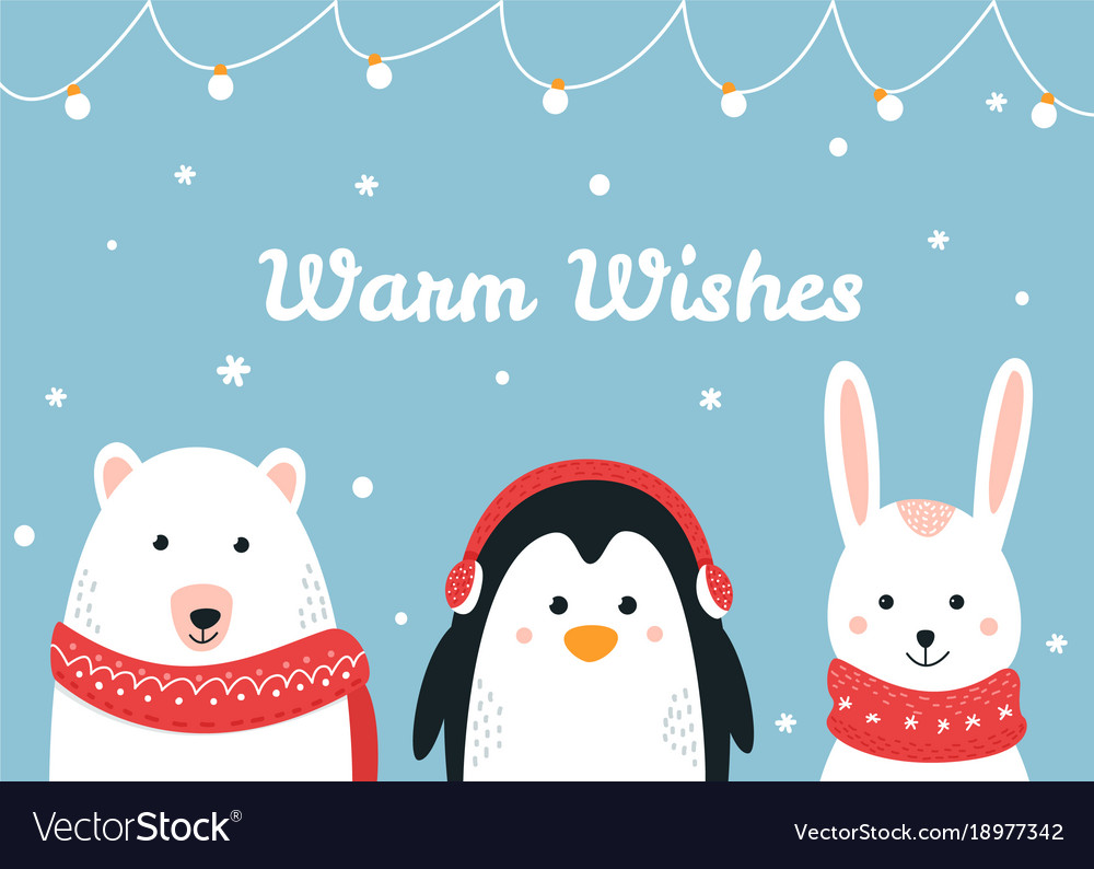 Cute woodland animals warm wishes christmas and