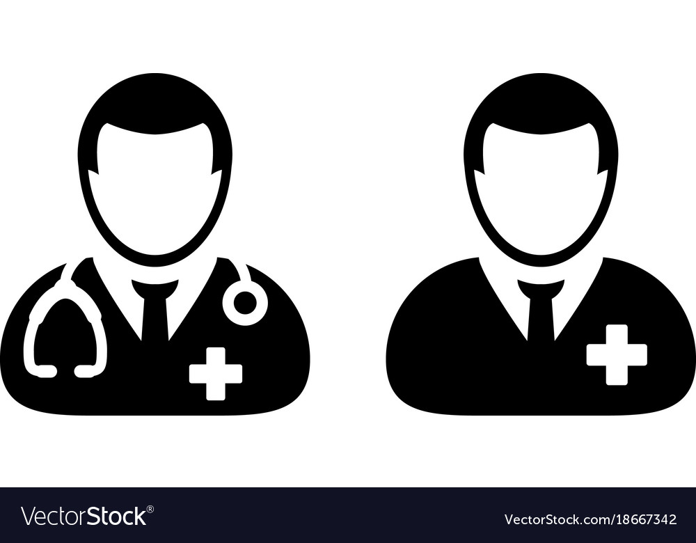 Doctor Icon Male Patient Medical Consultation Vector Image