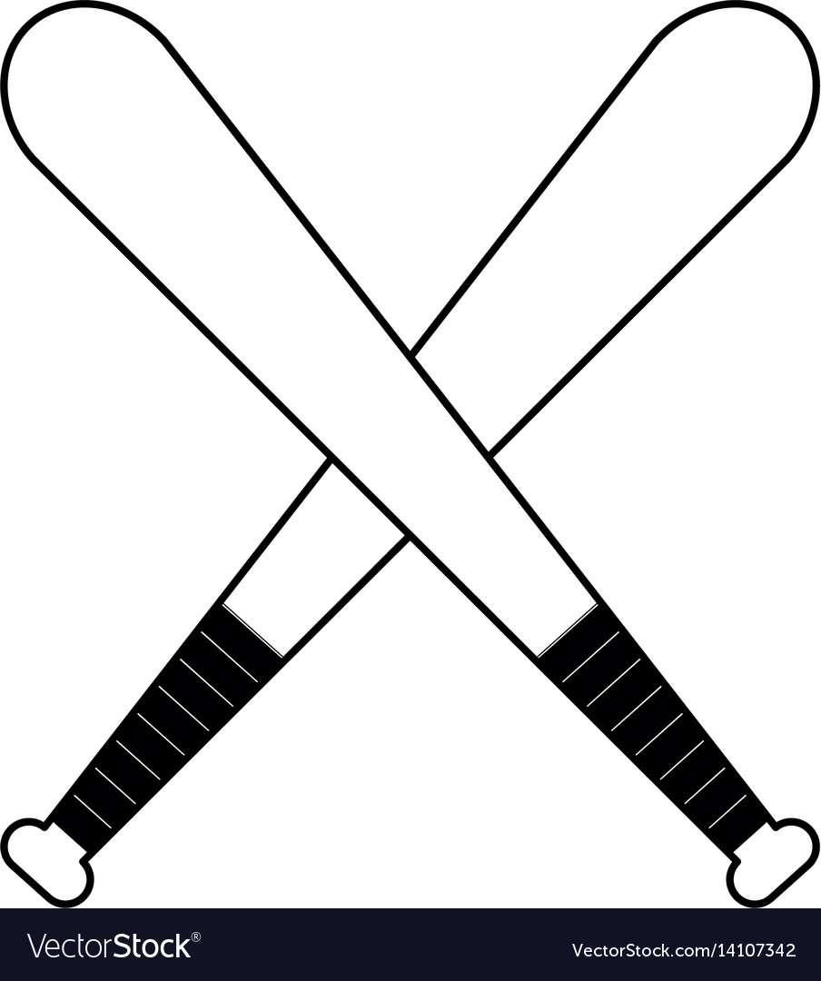 Figure baseball bats to play icon vector image