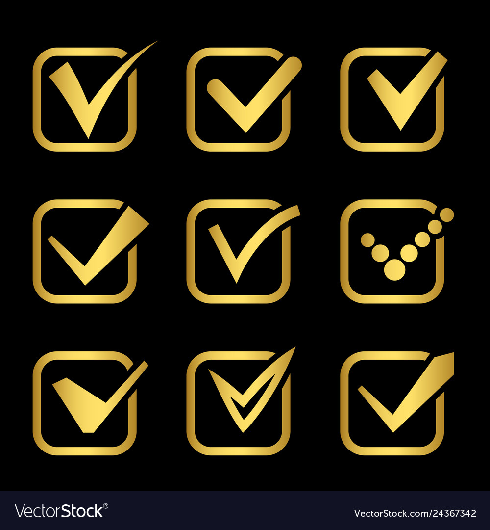 Golden confirm signs icons of collection