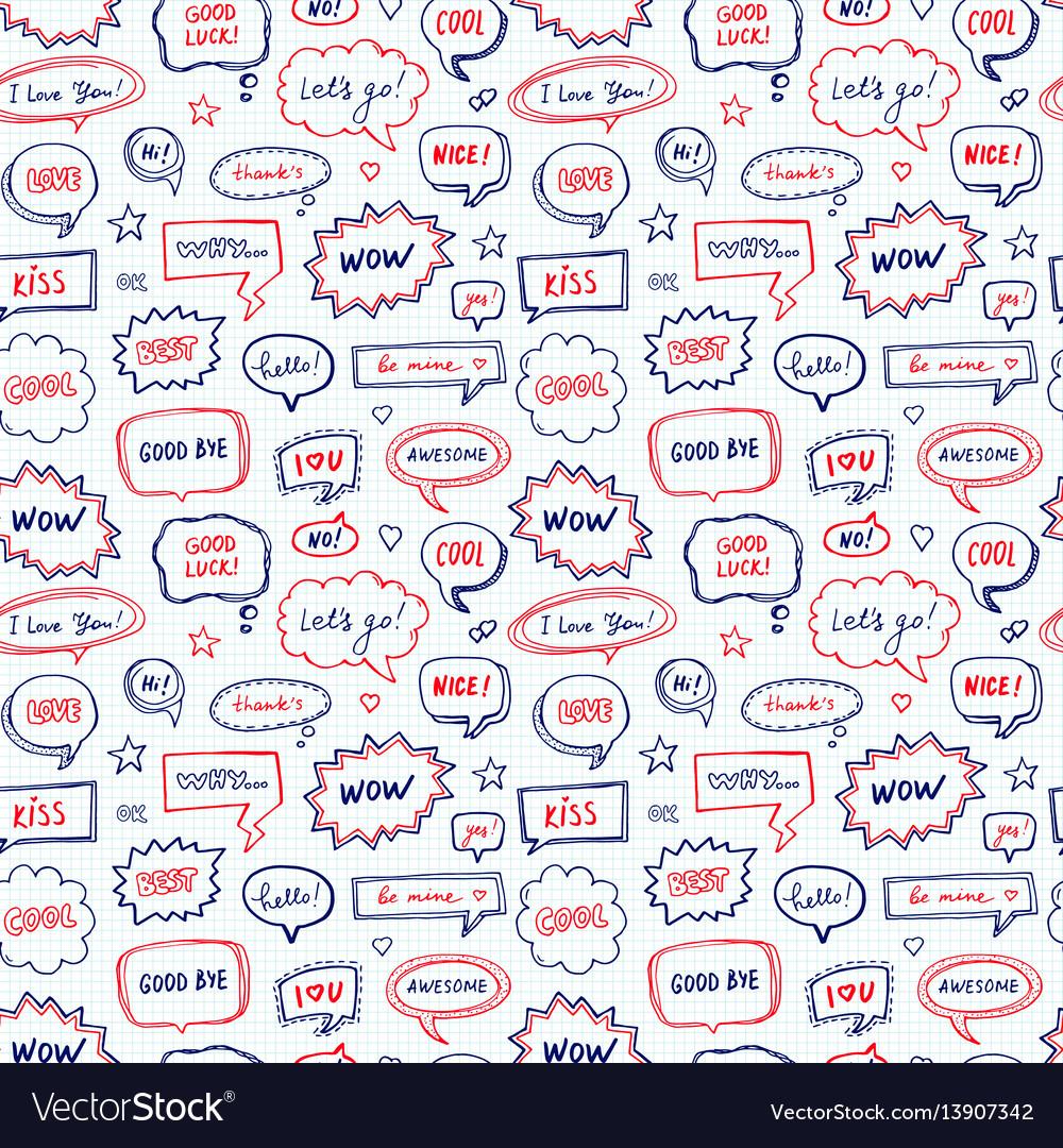 Hand drawn seamless pattern of speech bubbles