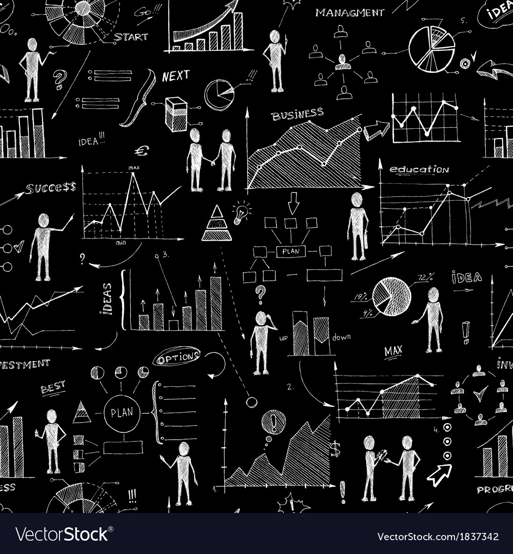 Seamless chalk board doodle web charts background
