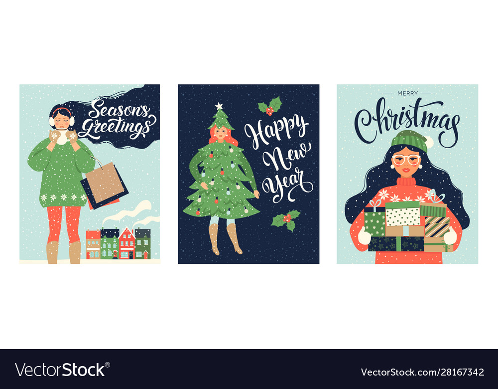 Set christmas card and happy new year templates