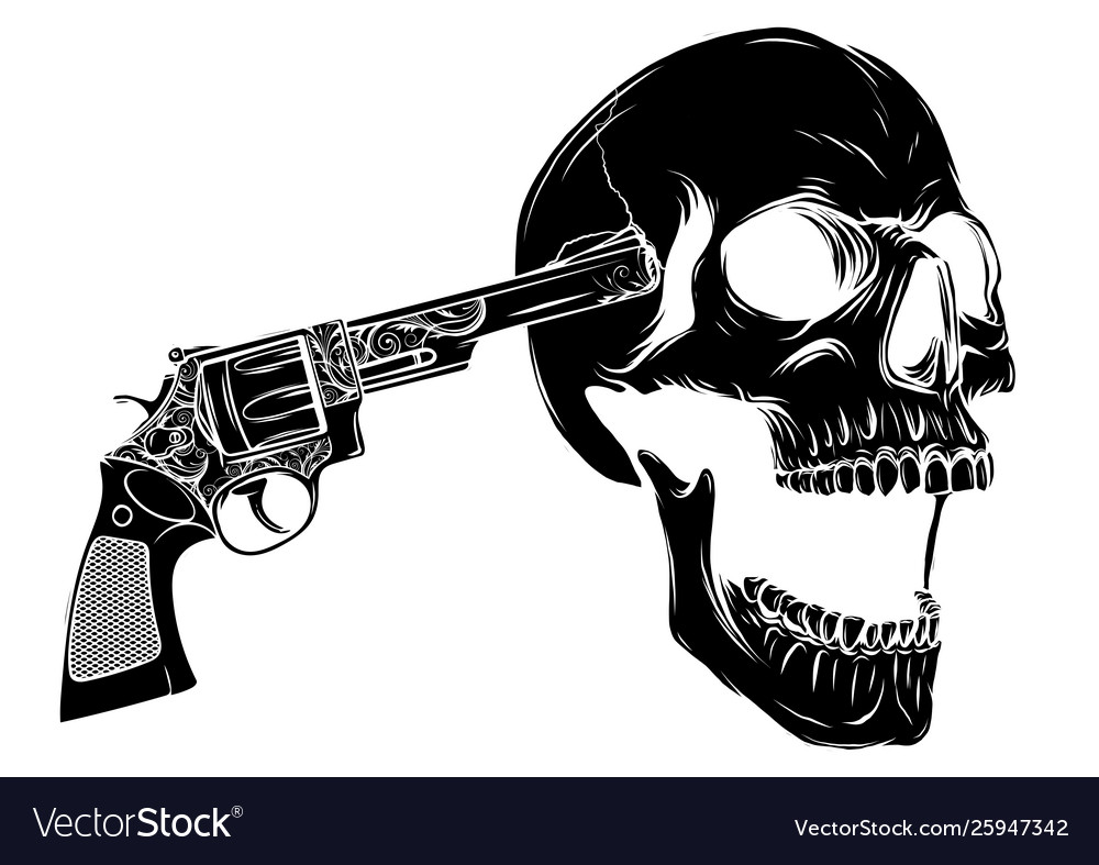 Skull aiming with two revolvers