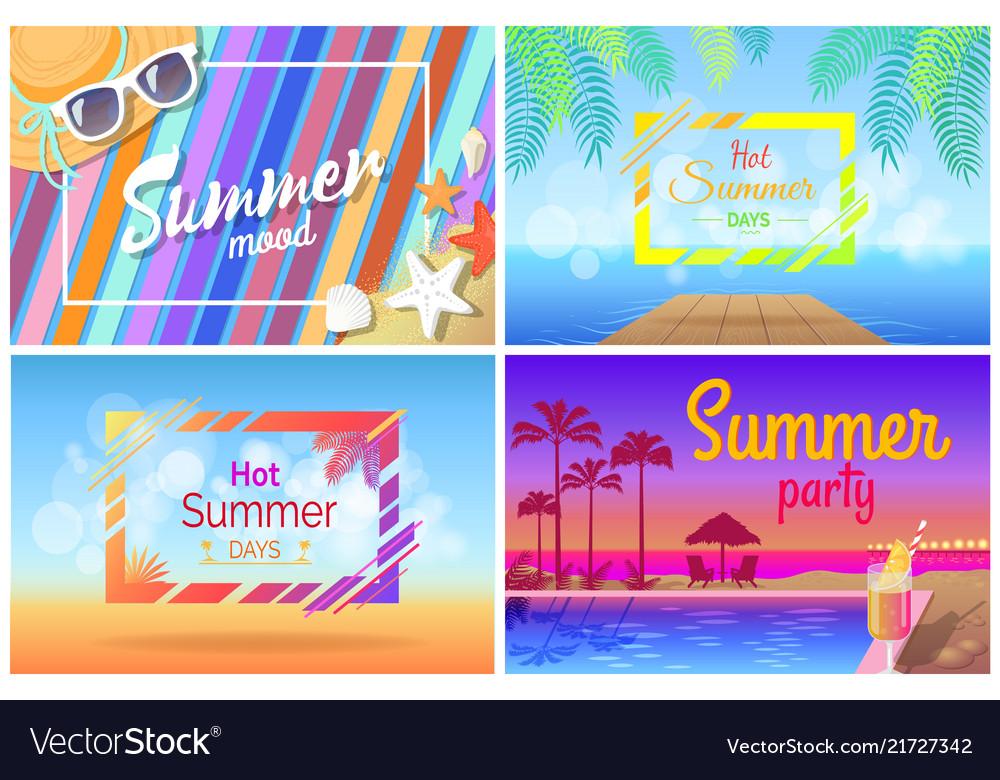 Summer landscape beach composition set posters