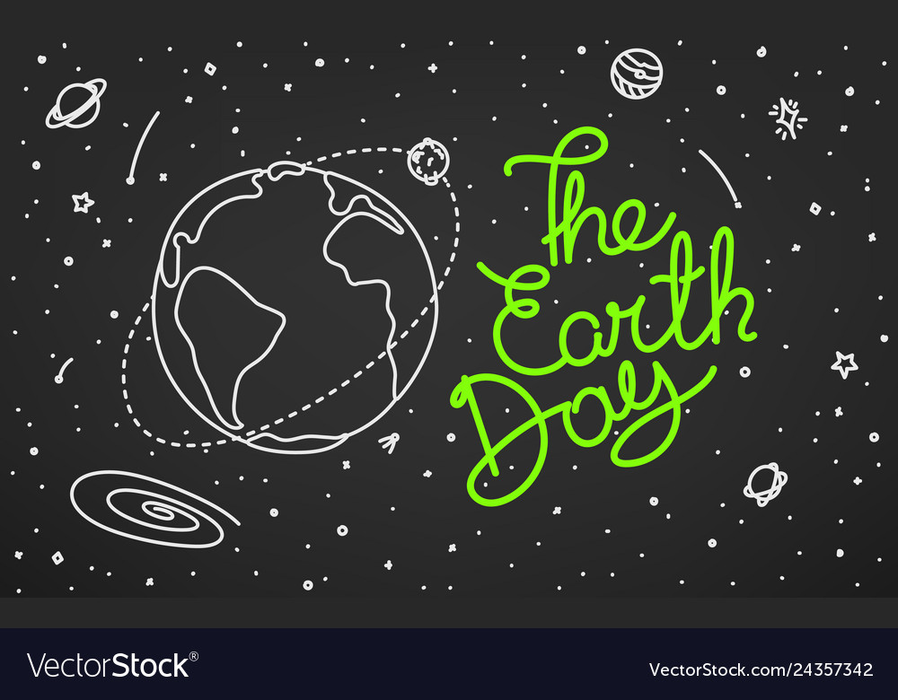 The earth day doodle style
