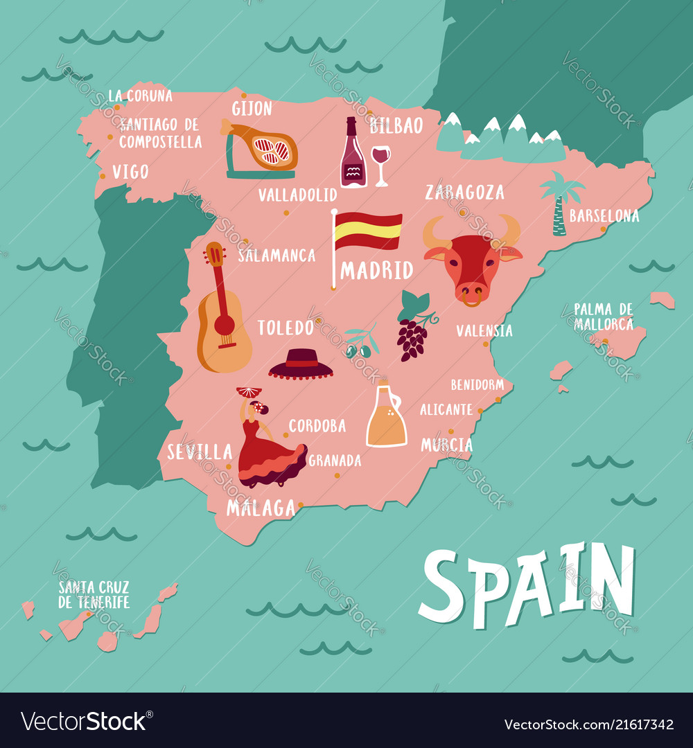 Travel Map Of Spain.Tourist Map Of Spain Travel With