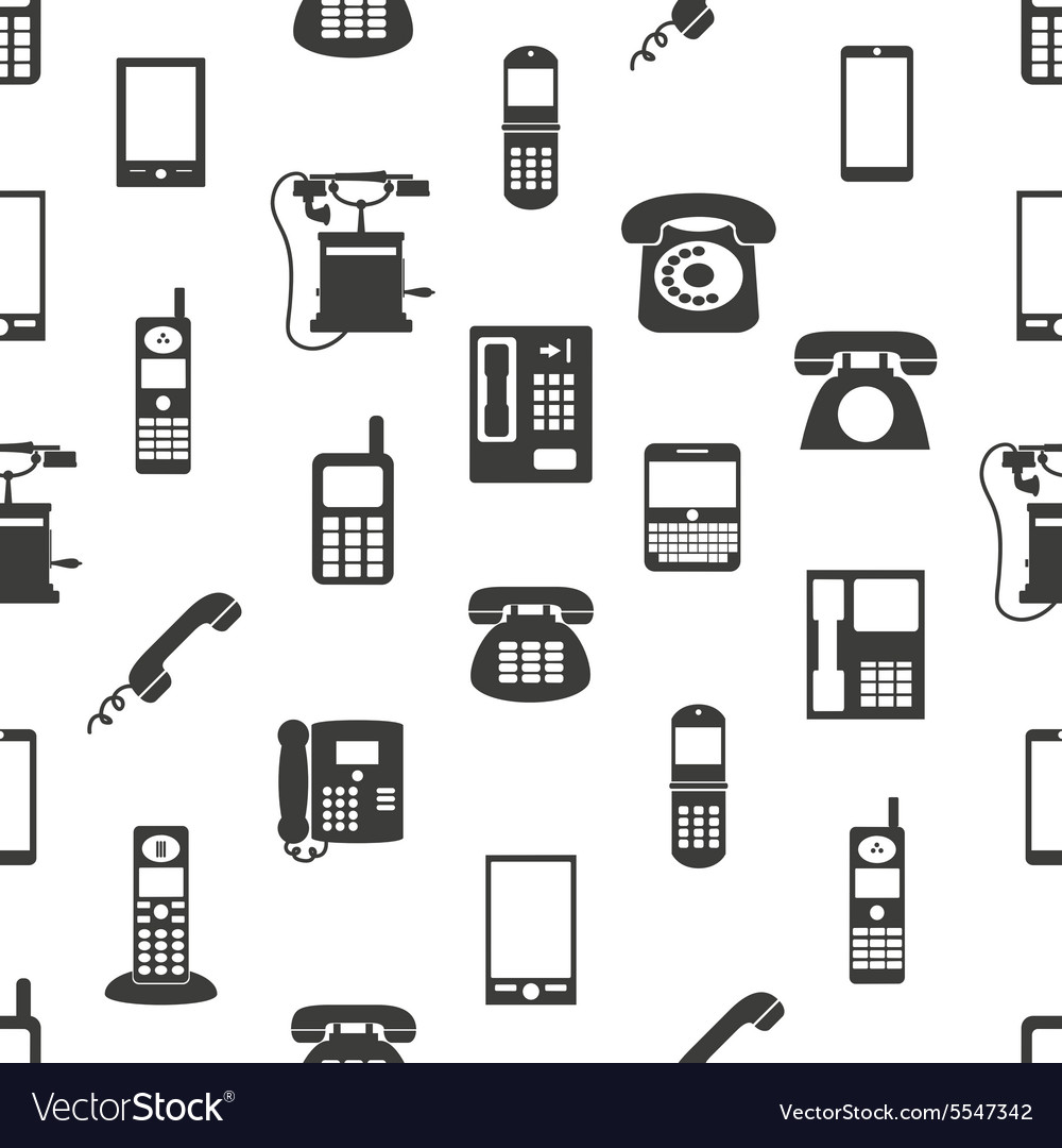 Various phones symbols and icons seamless pattern