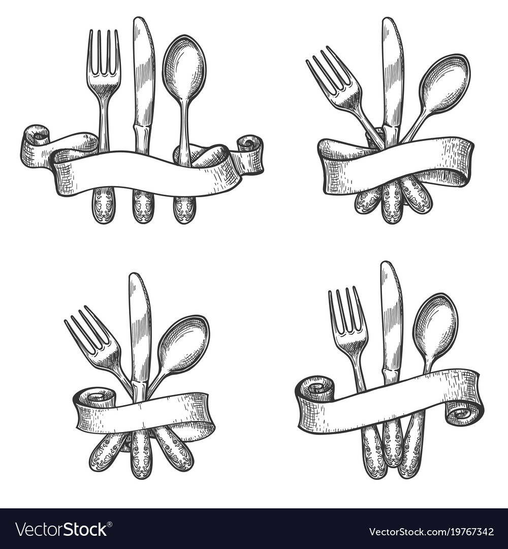 Vintage dinner table silverware set vector image  sc 1 st  VectorStock & Vintage dinner table silverware set Royalty Free Vector