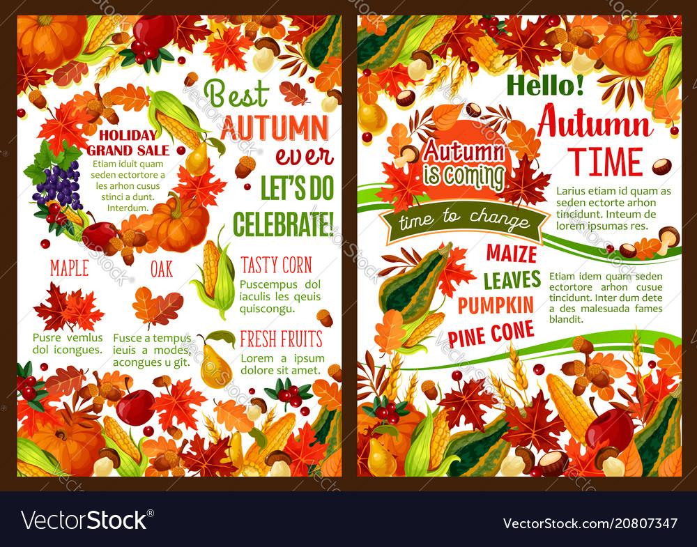 Autumn pumpkin fruit and berry harvest poster